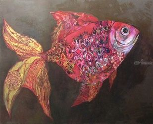 Ruby fish, Paintings, Fine Art,Symbolism, Animals, Oil, By olga zelinska