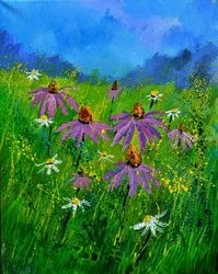 Rudbeckias, Paintings, Expressionism, Botanical, Canvas, By Pol Ledent