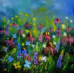 Rudbeckias 88, Paintings, Expressionism, Floral, Canvas, By Pol Ledent