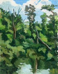 Rumford ive Near Draper's<br>Woods, Norton, Paintings, Impressionism, Landscape, Oil, By Marc Clamage
