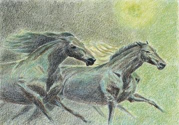 Running horses, Drawings / Sketch, Symbolism, Animals, Pencil, By Tetyana K