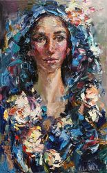 Russian girl in a headscarf<br>Original abstract portrait<br>painting on canvas 50 x 80 cm<br>Palette knife, Paintings, Abstract,Impressionism, Portrait, Canvas, By Anastasiya Valiulina