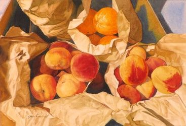 Sacked peaches, Drawings / Sketch,Paintings, Fine Art,Realism, Found Objects,Still Life,Window on the World, Watercolor, By James Cassel