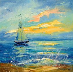 Sailboat at dawn, Paintings, Impressionism, Land Art,Landscape,Nature, Canvas,Oil,Painting, By Olha   Darchuk
