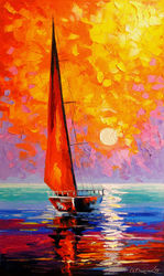 Sailboat at dawn, Paintings, Expressionism,Impressionism, Botanical,Landscape,Nature, Canvas,Oil,Painting, By Olha   Darchuk