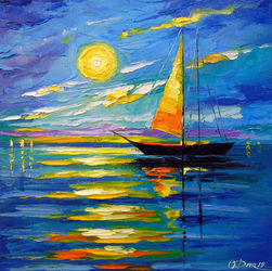 Sailboat at sunset, Paintings, Impressionism, Landscape,Seascape, Canvas,Oil,Painting, By Olha   Darchuk