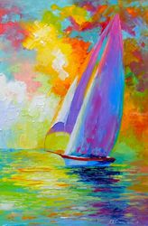Sailboat in the sea, Paintings, Expressionism,Fine Art,Impressionism, Botanical,Landscape,Nature,Seascape, Canvas,Oil,Painting, By Olha   Darchuk