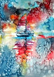 Sailboat at the sunlight, Paintings, Impressionism, Seascape, Watercolor, By Kovacs Anna Brigitta