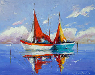 Sailboats anchored, Paintings, Impressionism, Land Art,Landscape,Nature, Canvas,Oil,Painting, By Olha   Darchuk