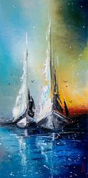 Sailboats at dusk, Paintings, Impressionism, Landscape,Seascape, Oil, By Liubov Kuptsova