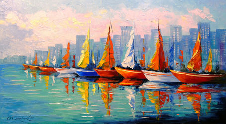 Sailboats in the Bay, Paintings, Impressionism, Architecture,Botanical,Landscape, Canvas,Oil,Painting, By Olha   Darchuk