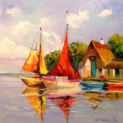 Sailboats near the shore, Paintings, Fine Art,Impressionism, Landscape,Nature,Seascape, Canvas,Oil,Painting, By Olha   Darchuk
