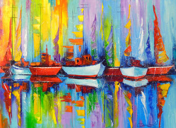Sailboats on the pier, Paintings, Expressionism,Impressionism, Botanical,Landscape,Nature,Seascape, Canvas,Oil,Painting, By Olha   Darchuk