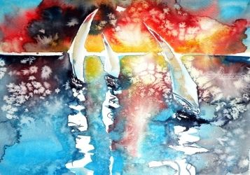 Sailboats at the sunlight, Paintings, Impressionism, Seascape, Watercolor, By Kovacs Anna Brigitta