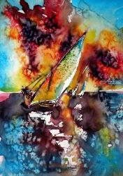 Sailboats at the sunshine II, Paintings, Impressionism, Seascape, Watercolor, By Kovacs Anna Brigitta