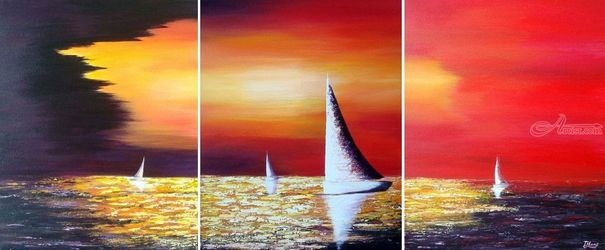 Sailing Before the Storm, Paintings, Abstract,Expressionism, Nature,Seascape, Acrylic, By Tanya Hansen
