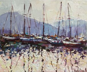 Sailing yachts in marina at<br>sunset Original seascape<br>painting, Paintings, Impressionism, Landscape,Seascape, Canvas,Oil,Painting, By Anastasiya Valiulina