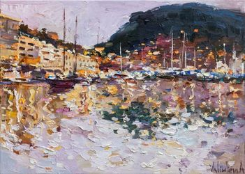 Sailing yachts in Monaco bay -<br>Original oil painting, Paintings, Impressionism, Landscape,Spiritual, Canvas,Oil, By Anastasiya Valiulina