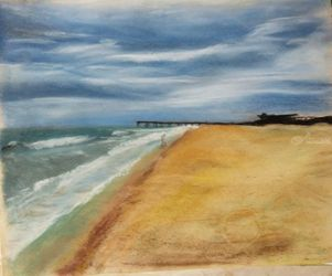 Saint Augustine Beach, Paintings, Impressionism, Seascape, Pastel, By Nick Mitchell