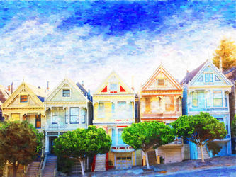 San-francisco, Paintings, Impressionism, Window on the World, Oil, By Angelo