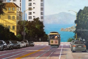San Francisco Bay View, Paintings, Impressionism, Cityscape, Canvas,Oil, By Mason Kang