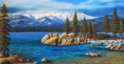 """SAND HARBOR IN WINTER ~ LAKE<br>TAH, Paintings, Fine Art,Realism, Landscape, Oil,Painting, By Frank Wilson"