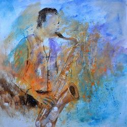 Sax player, Paintings, Expressionism, Decorative, Canvas, By Pol Ledent
