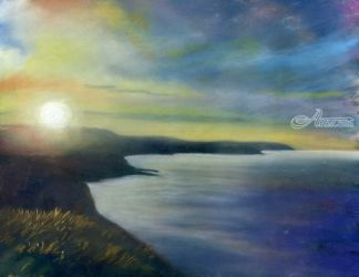 Scarborough Sunset, Paintings, Impressionism, Seascape, Pastel, By Matthew Evans