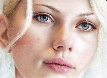 Scarlett Johansson oil painting hyperrealism, , Realism, People,Portrait, Canvas,Oil, By Stefan Pabst