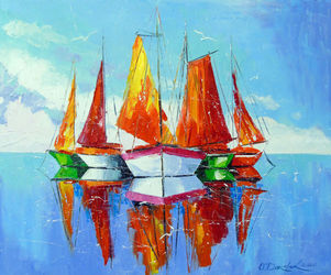 Schooners on the roadstead, Paintings, Expressionism,Impressionism, Landscape,Nature,Seascape, Canvas,Oil,Painting, By Olha   Darchuk