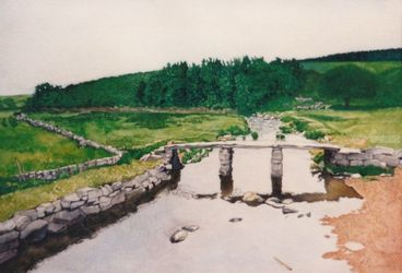 Scottish bridge, Drawings / Sketch,Illustration,Paintings, Fine Art,Realism, Landscape,Nature, Painting,Watercolor, By James Cassel