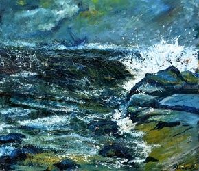 Seascape 701, Architecture,Decorative Arts,Drawings / Sketch,Paintings, Expressionism, Land Art, Canvas, By Pol Ledent