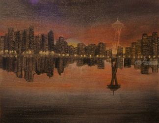Seatle Skyline, Land Art,Paintings, Fine Art,Realism, Cityscape,Landscape, Oil, By Lana Fultz