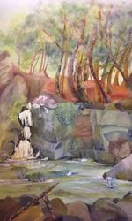 Secluded Waterfall, Paintings, Fine Art,Impressionism, Landscape, Acrylic,Pastel, By Eva Hunter