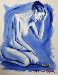 Sensibilite - Etude in Blue,<br>No.6, Paintings, Fine Art,Impressionism, Figurative,Historical,Nature,Nudes, Canvas,Oil,Painting, By Mark Maguire