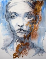 SERIES OF PORTRAITS IN INK AND<br>GOLD, Paintings, Commercial Design,Expressionism,Fine Art, Portrait, Acrylic,Ink, By Anna Sidi Yacoub