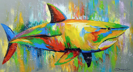 Shark, Paintings, Abstract,Fine Art,Impressionism, Animals,Botanical,Nature,Seascape, Canvas,Oil,Painting, By Olha   Darchuk