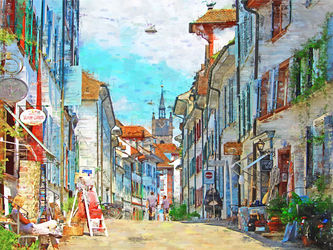 Shopping Street Switzerland, Paintings, Impressionism, Window on the World, Painting,Watercolor, By Angelo