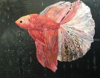 Siamese fighting fish, Paintings, Fine Art,Symbolism, Animals,Fantasy,Spiritual, Canvas, By olga zelinska
