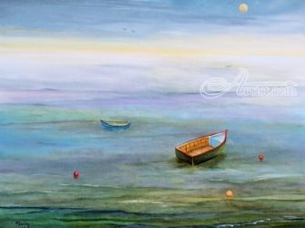 Silver Ocean Boats, Paintings, Impressionism, Seascape, Oil, By Alicia Maury