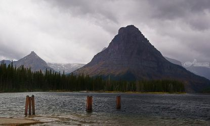 Sinopah Mountain in a<br>Rainstorm at Two Medicine Lake, Photography, Fine Art,Photorealism,Romanticism, Decorative,Environmental art,Landscape,Nature, Photography: Metal Print,Photography: Photographic Print,Photography: Premium Print,Photography: Stretched Canvas Print, By Tracey Vivar