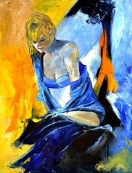 Sitting young girl, Paintings, Impressionism, Erotic, Canvas, By Pol Ledent
