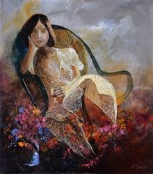 Sittting young girl, Paintings, Expressionism, Figurative, Canvas, By Pol Ledent