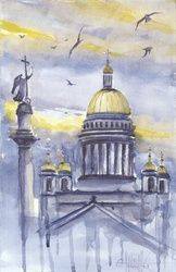 Sky and Cathedral, Paintings, Fine Art, Fantasy,Landscape, Watercolor, By Eugene Gorbachenko