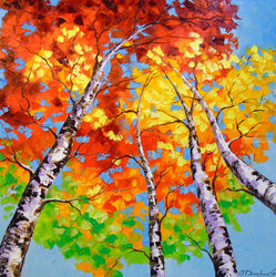 Sky birch, Paintings, Fine Art,Impressionism, Botanical,Landscape,Spiritual, Canvas,Oil,Painting, By Olha   Darchuk