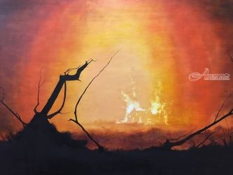Skyfall Burning (aka 007's<br>home), Paintings, Impressionism, Landscape, Oil, By Stephen Keller