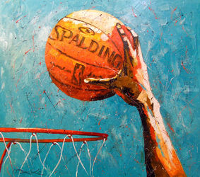 Slam dunk, Paintings, Fine Art,Impressionism, Figurative,Happenings,Inspirational, Canvas,Oil,Painting, By Olha   Darchuk