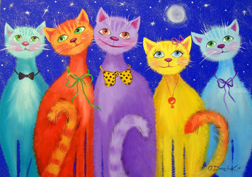 Smiling cats, Paintings, Fine Art,Impressionism, Animals,Botanical,Nature, Canvas,Oil,Painting, By Olha   Darchuk