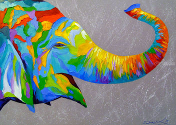 Smiling elephant, Paintings, Fine Art,Impressionism,Pop Art, Animals,Nature, Canvas,Oil,Painting, By Olha   Darchuk
