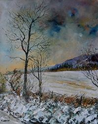 snow 108, Architecture,Decorative Arts,Drawings / Sketch,Paintings, Expressionism, Landscape, Canvas, By Pol Ledent